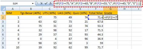 Memberi Grade dengan Formula