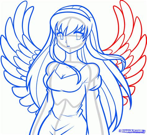 draw  anime angel angel girl step  step