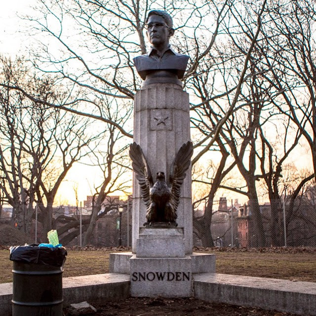 The Edward Snowden bust in Fort Greene Park (photo by Sally Thurer/Instagram)