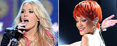 (L-R) Carrie Underwood; Rihanna (Ethan Miller/Getty Images; Michael Buckner/ACMA2011/Getty Images)