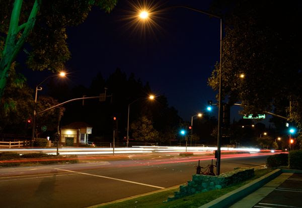 A long-exposure snapshot that I took of a local street in Diamond Bar, California...on June 30, 2017.
