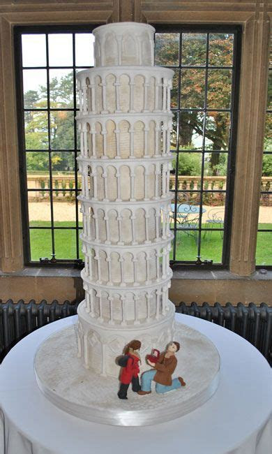 8 tier leaning tower of Pisa wedding cake at Coombe lodge