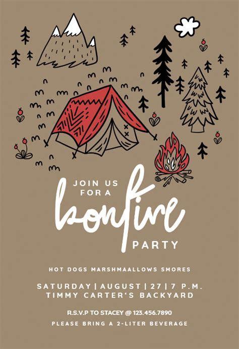 Firelight Bonfire Fun   Printable Party Invitation