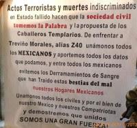 Una de las mantas en Guerrero. Foto: Especial
