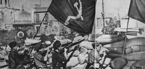 Milicias comunistas disparan contra el Alcázar desde Zocodover en verano de 1936