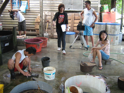 Preparing to shoot a scene in salted fish factory