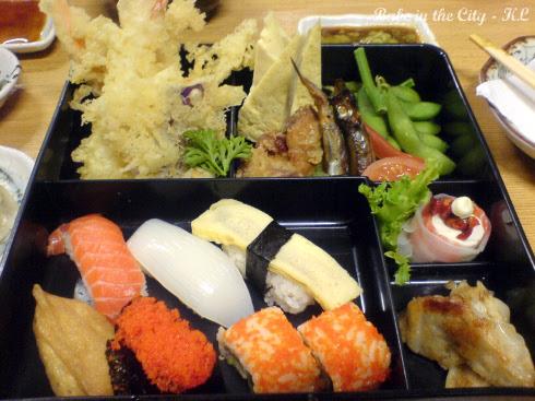 Tempura + sushi + tofu + gyoza + shishamo + karaage + tamago+ edamame