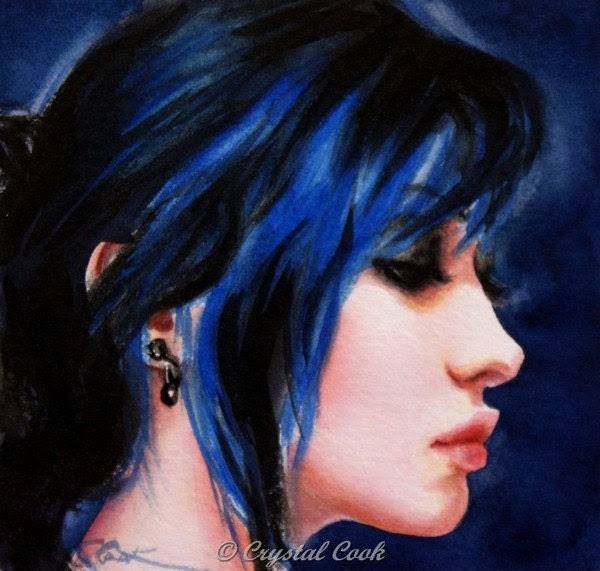 watercolor portrait painting beautiful woman profile original  fine art blue hair Raven 5 x 5