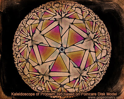 Kaleidoscope of Geometry Problem 395 based on Poincare Disk Model, Square, Equilateral Triangle.