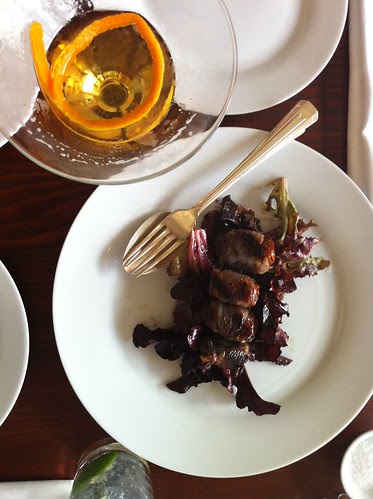 pancetta-wrapped dates and a sazerac