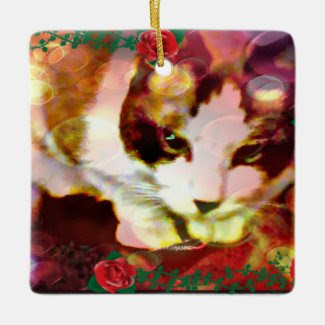 snowshoe kitty in the red roses square ornament