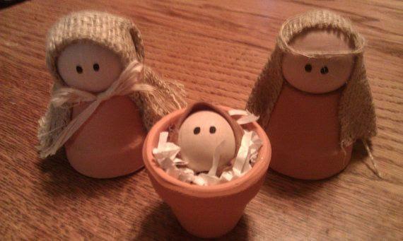 Clay Pot Nativity by MyChickenCoop on Etsy, $10.00