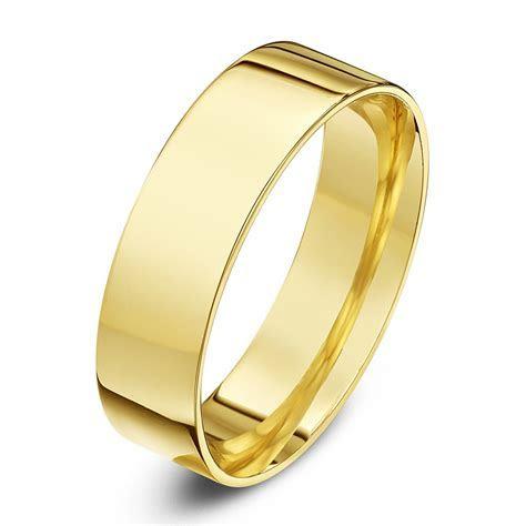 9ct Yellow Gold Light Weight Flat Court Shape 6mm Wedding Ring