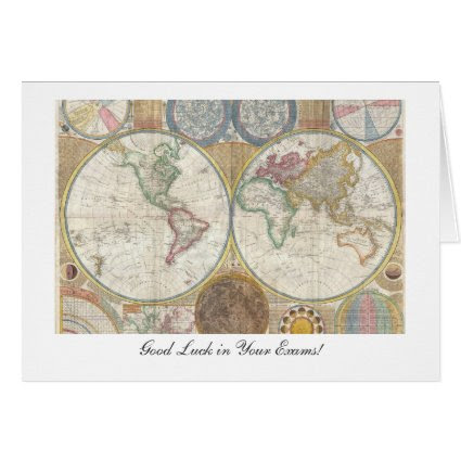 Old World Map from 1794 - Good Luck in Your Exams Cards