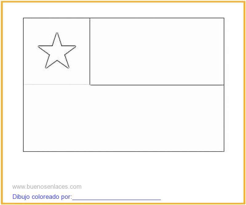 Dibujo De Bandera De Chile Para Colorear E Imprimir