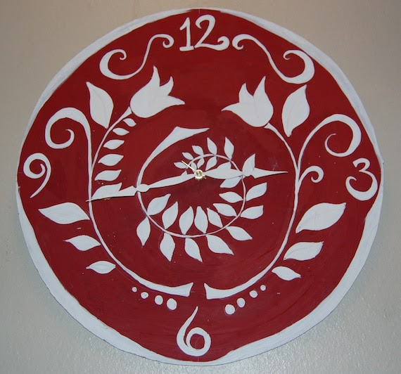 Red and White Floral Wall Clock