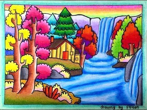 Ide 32 Cara Menggambar Dan Mewarnai Gradasi Pemandangan Gunung Sungai Dan Air Terjun