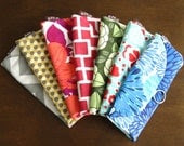 Bridesmaid Gifts - Set of 7 Jewelry Travel Organizer Clutches - Custom fabric/colours
