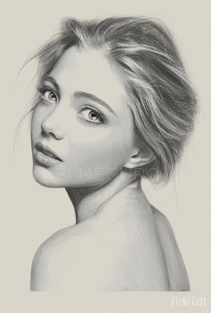 736x1090 Girl Side Face Drawing Realistic Girl Face Sketch Side View Girls