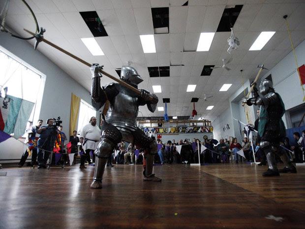 Lutas são travadas dentro da academia em Toronto, no Canadá