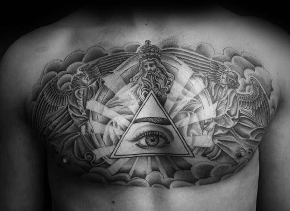 50 Cloud Chest Tattoos For Men Blue Sky Ink Design Ideas