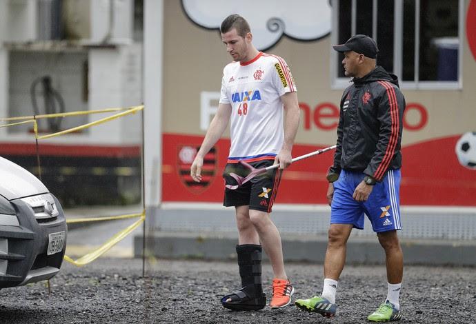 Paulo Victor perna imobilizada Flamengo (Foto: Paulo Campos / Estadão Conteúdo)