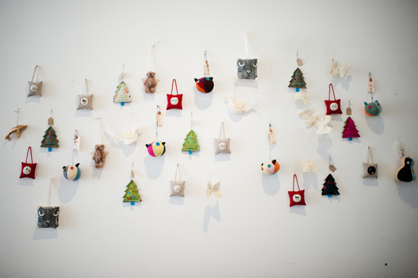 a wall of ornaments