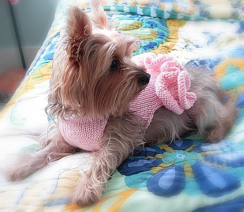 Too SWEET Little Pink Dress With Pearls DOG SWEATER -- Custom -- Hand Made -- All Sizes
