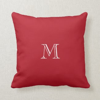 Red Monogram Accent Pillow