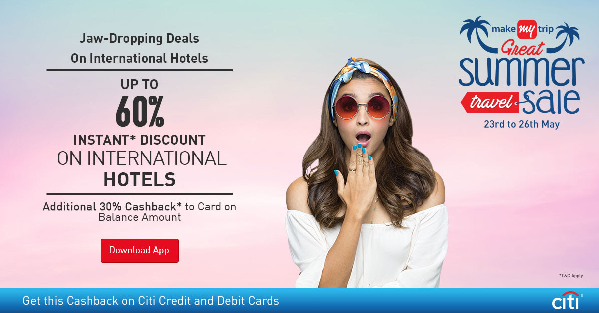 jaw -dropping deals on international hotels up to60% off instant discount on  international  hotels  additional 30% cashback to card on blance amount  make my trip citi credit and debit cards offers:-