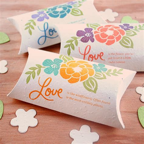 Plantable Wedding Favor Pillow Boxes   Plantable Seed