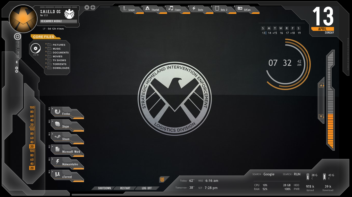 I Was Bored And Decided To Make A Shield Desktop Using Rainmeter