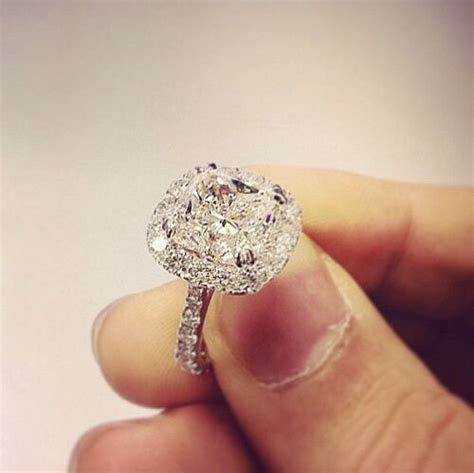 1.90 Ct. Natural Cushion Cut Halo Pave Diamond Engagement