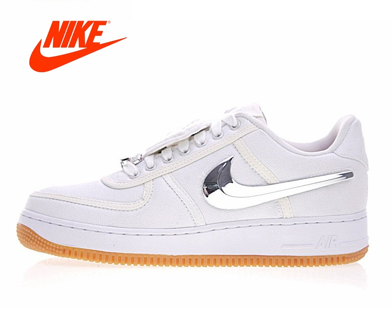 fdf52cde Купить Оригинальный Новое поступление Аутентичные Nike Air Force 1 низкая  Трэвис Скотт для мужчин обувь скейтбординга спортивная обувь, кроссовки бе.