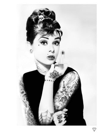 Audrey Hepburn Tattoo Black And White By Jj Adams Limited Edition