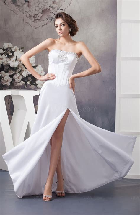 White Beach Bridal Gowns Inexpensive Strapless Plus Size