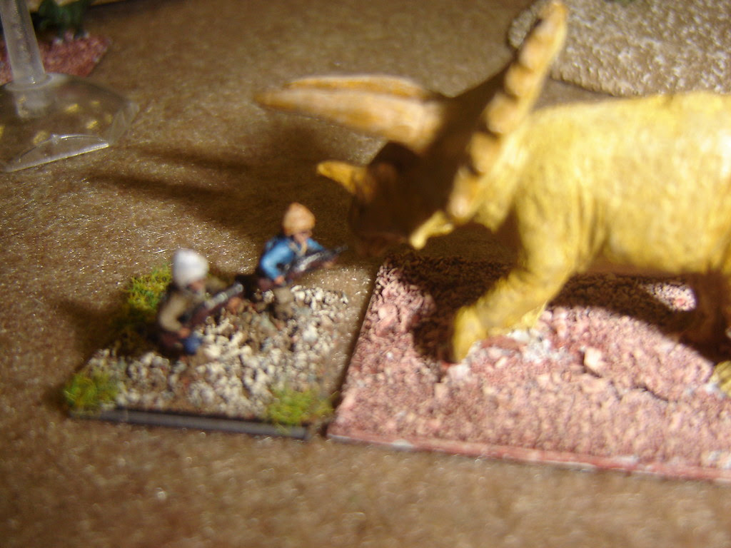 Adventurer gored by Triceratops
