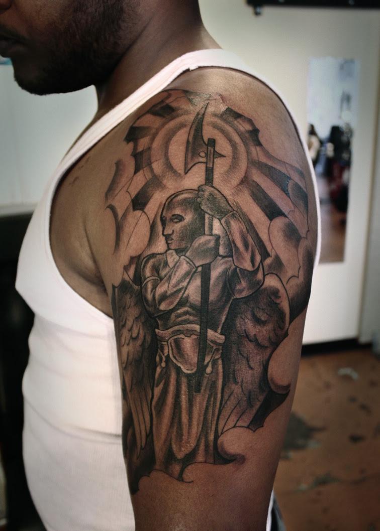 5aaa9791a Left Shoulder Warrior Angel Tattoo For Men