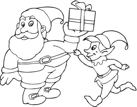 Disegno Di Babbo Natale E Elfo Da Colorare Disegni Da Colorare E