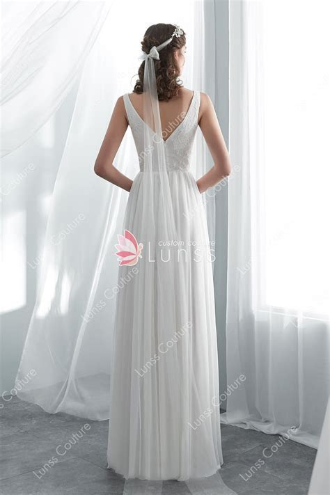 Ivory Simple Lace Net Beach A line Wedding Dress   Lunss
