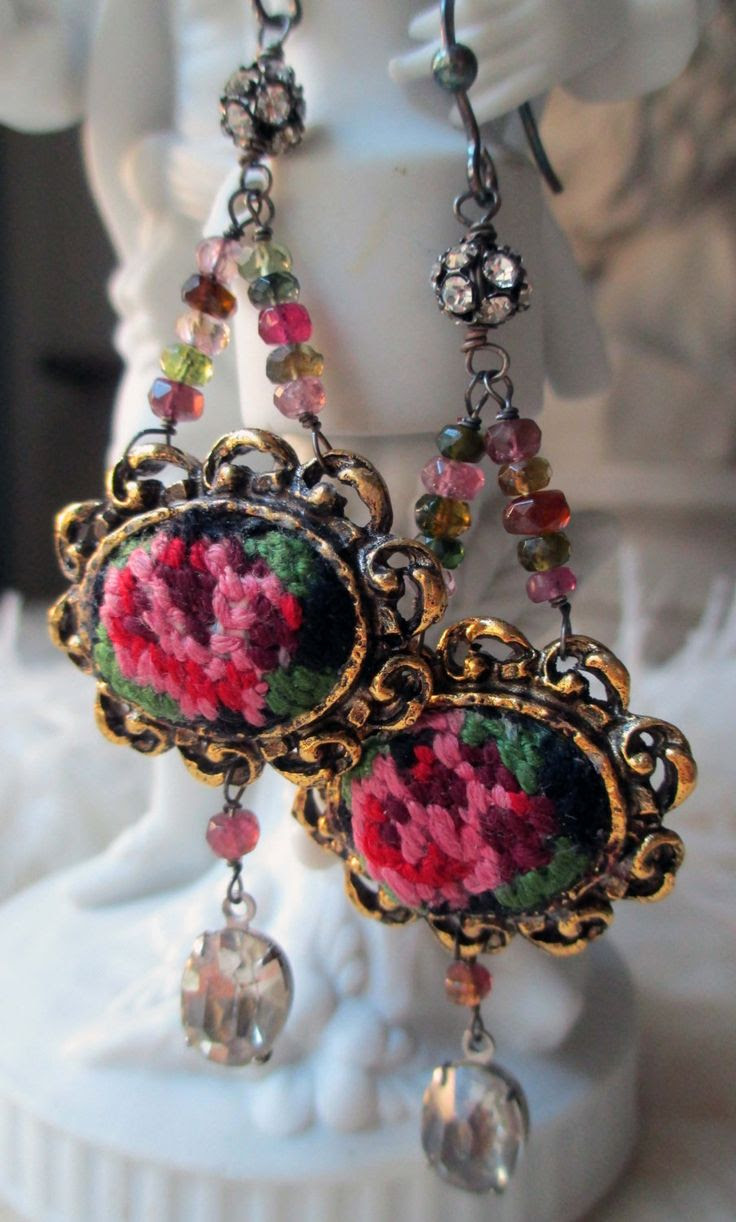 tapestry - vintage assemblage earrings with petit point floral findings, tourmaline and rhinestones by the french circus