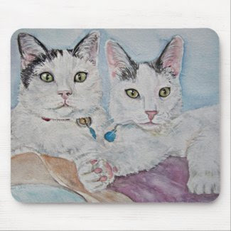 two of a kind cats mouse pads