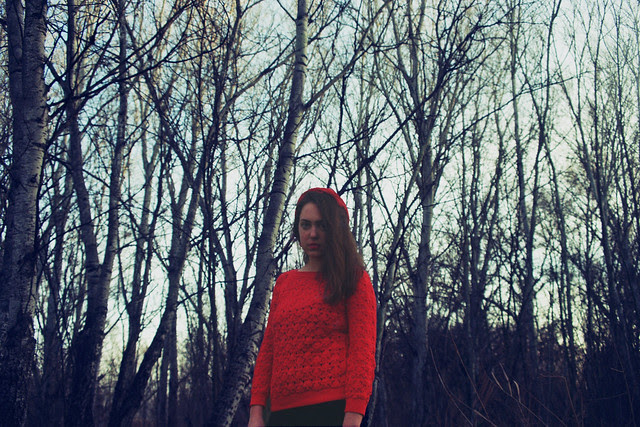 """""""The wolf said, """"You know, my dear, it isn't safe for a little girl to walk through these woods alone."""""""