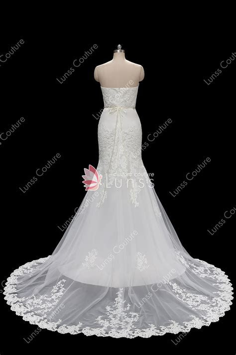 Ivory Strapless Lace Tulle Mermaid Wedding Dress with
