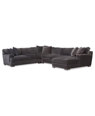 "Teddy Fabric Sectional Sofa, 2 Piece Chaise 112""W x 66""D x 30""H"