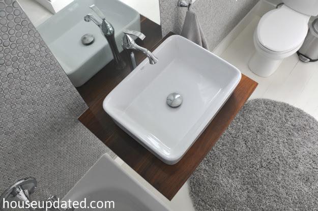 DIY Walnut Floating Shelf Sink Vanity - House Updated