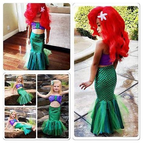 Kids Girls Swimsuit Little Mermaid Tails Costume Bikini