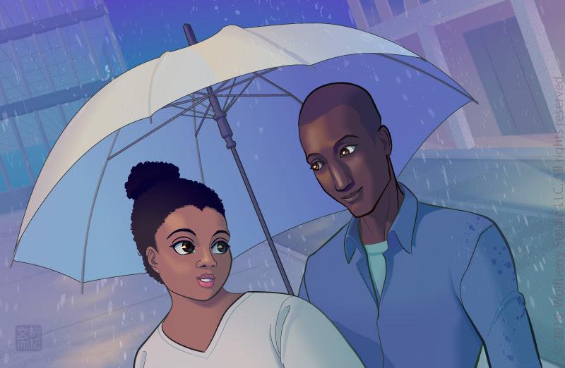 woman and man under umbrella