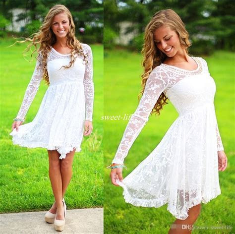 Short Casual Country Wedding Dresses With Long Sleeves