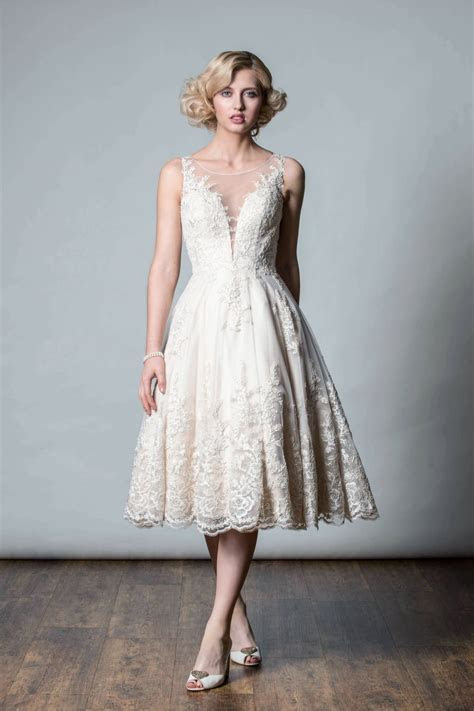 Rita Mae 1055 Anastasia Champagne Tea Length Lace Wedding